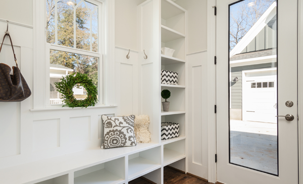 White shelves and seating area