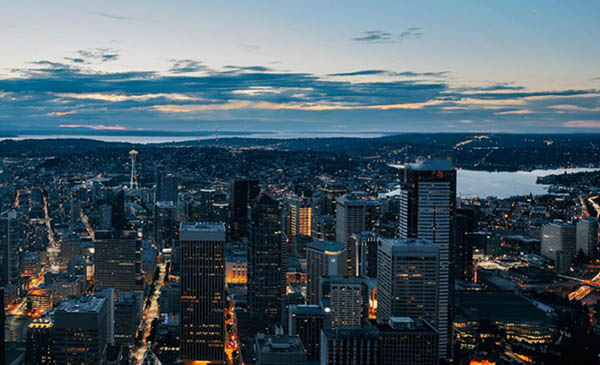 Seattle Aerial at Dusk
